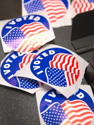 Election stickers in a stock image.