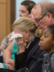 John Dye's family listens during his sentencing in court in Pensacola on Tuesday, December 5, 2017.  Dye was found guilty of vehicular homicide for the 2015 death of Donna Sue Alexander.