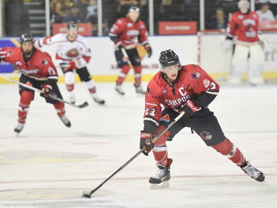 Forward Mason Krueger and the IceRays will play their final two games of a six-game road swing in Shreveport on Friday and Saturday.