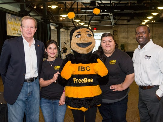 Harold Shockley Jr (left), Annette Cisneros, IBC Bank's bee, Evelyn Salazar, and Curtis Clark during the South Texas Regional Spelling Bee on Saturday, Feb. 25.