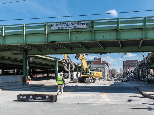Contractors began demolishing the municipal parking garage at 26 South Division St. after the city held a groundbreaking ceremony on March 14 | Courtesy of City of New Rochelle | March 14, 2018