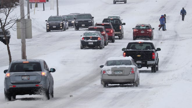 Traffic moves slowly down Ballard Road on Monday in Appleton. Dan Power/USA TODAY NETWORK-Wisconsin