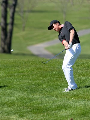 Richmond's Jake Miller chips while playing in the Bo Van Pelt/Justin Cross Richmond High School golf invite Saturday, April 16, 2016, at Elks Country Club in Richmond