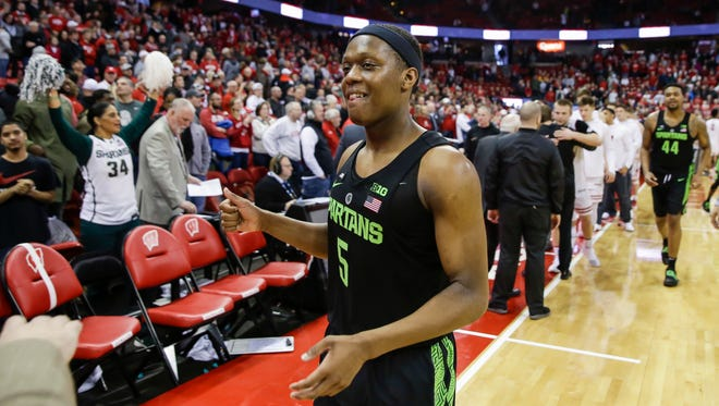 Michigan State's Cassius Winston leaves the court after the Spartans wrapped up the Big Ten title outright on Sunday at Wisconsin.