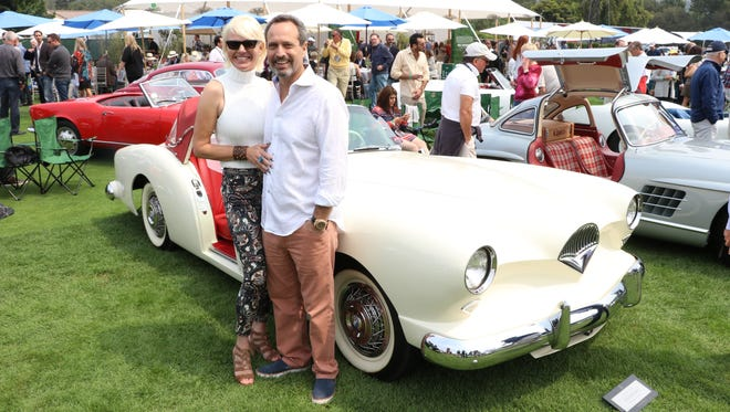 John Nirenstein and Stephanie Dunn and their 1954 Kaiser Darrin at the Quail Motorsports Gathering in Carmel Valley, Calif.