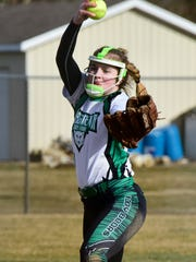 Margaretta's Jayden Moore throws a pitch Friday.