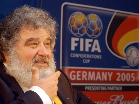 FILE - In this Feb. 14, 2005 file photo, Confederation of North, Central American and Caribbean Association Football (CONCACAF) general secretary Chuck Blazer attends a press conference in Frankfurt, Germany. Blazer, the disgraced American soccer executive whose admissions of corruption set off a global scandal that ultimately toppled FIFA President Sepp Blatter, has died. He was 72. Blazer's death was announced Wednesday, July 12, 2017, by his lawyers, Eric Corngold and Mary Mulligan. (AP Photo/Bernd Kammerer, File)