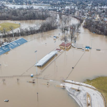 In this aerial image, the Elkhart Central High School