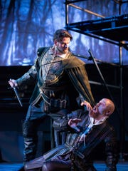 Laertes (Matthew Vickers) and Claudio (Timothy Mix) avoid a fight by plotting to kill Hamlet in OperaDelaware's 2016 Opera Festival's 'Amleto' (Hamlet).