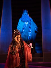 """Lindsay Ohse plays Semiramide and Young-Bok Kim plays the ghost of her husband in OperaDelaware's """"Semiramide."""""""