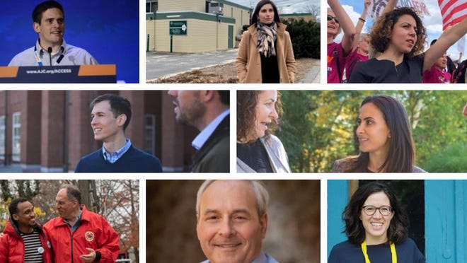 A majority of the eight Democratic candidates in the 4th Congressional District race support a ranked choice voting initiative on the Nov. 2 ballot. Top row from left to right: Ben Sigel, Jesse Mermell, Ihssane Leckey. Middle row: Jake Auchincloss, Becky Grossman. Bottom row: Alan Khazei, Chris Zannetos and Natalia Linos.