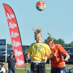 Skyla Gebauer gets her head into a recent game for the Waza U-14 club.