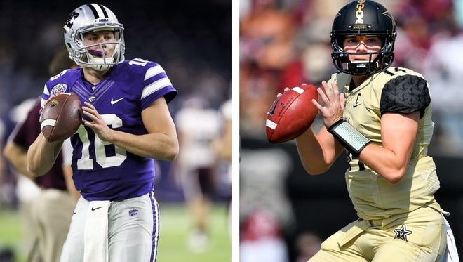 Kansas State's Jesse Ertz, left, and Vanderbilt's Kyle Shurmur will face off Saturday in a battle of red-hot quarterbacks.