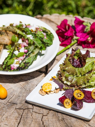 This is the grilled romaine salad and the roasted beet salad at Quiessence at the Farm at South Mountain, Thursday, May 24, 2018.