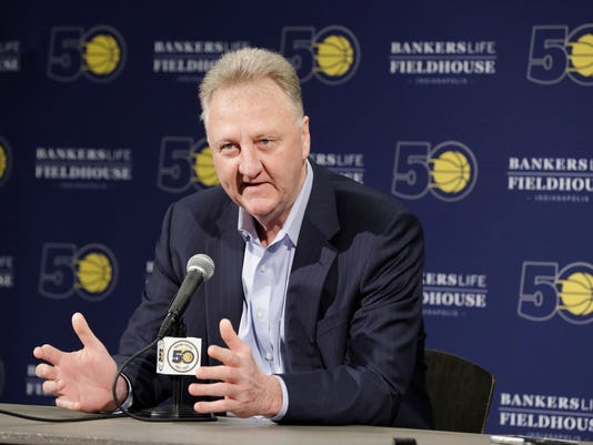 Larry Bird speaks after resigning from his position as Indiana Pacers president of basketball operations during a news conference Monday, May 1, 2017, in Indianapolis. (AP Photo/Darron Cummings)