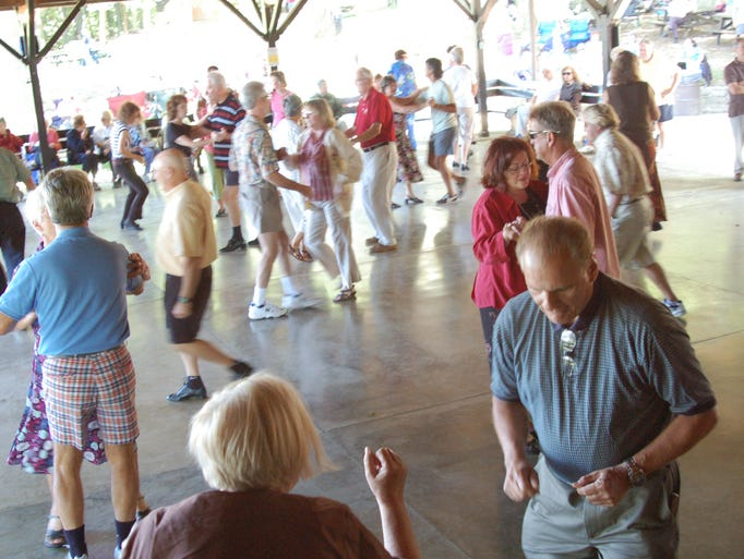 Dozens of dancers fit comfortably on the broad dance