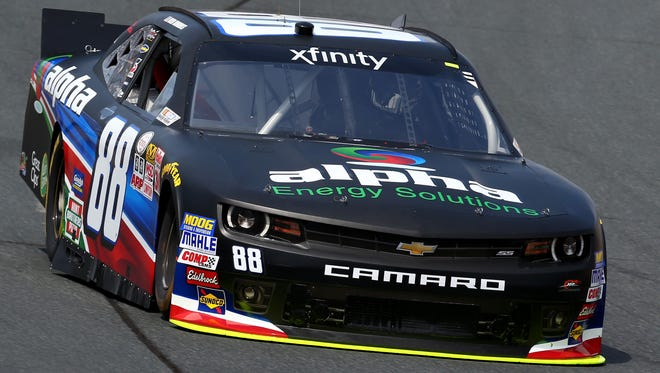 Ben Rhodes practices Friday for the Lakes Region 300 at New Hampshire Motor Speedway.