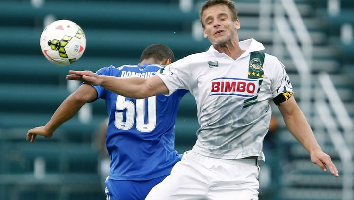 Rochester Rhinos forward Colin Rolfe in a game on July