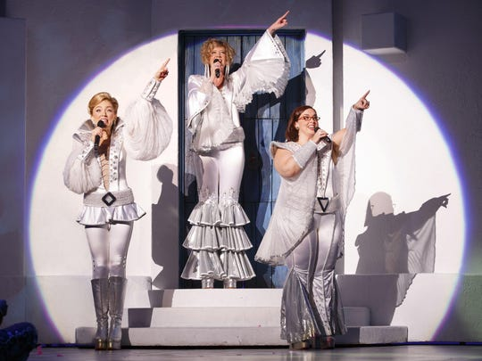 "Cast members from the 2015 North American Tour of ""Mamma Mia!"" The show's ""farewell tour"" will make a five-show, three-day stop at Cincinnati's Aronoff Center March 10-12."