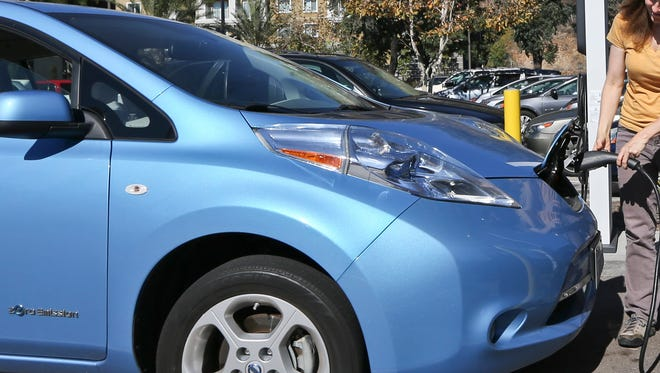 Charging a Nissan Leaf electric vehicle