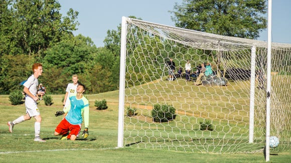 Asheville Christian Academy scores a goal in a Sept. 15 home win over Carolina Day.