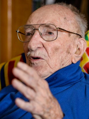 Woodrow Felty, 99, a World War II veteran talks Thursday, Feb. 4, 2016, about his time during World War II as a pilot. Felty will turn 100 on Feb. 11, 2016.