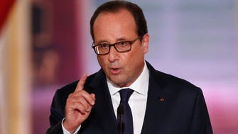 French President Francois Hollande speaks during his biannual press conference at the Elysee Palace in Paris, France, Thursday.