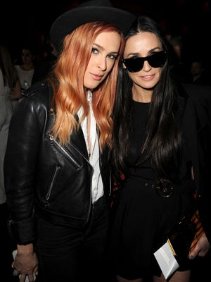 """Actresses Rumer Willis (L) and Demi Moore attend the premiere of Tribeca Film's """"Palo Alto"""" at the Directors Guild of America on May 5, 2014 in Los Angeles, California."""
