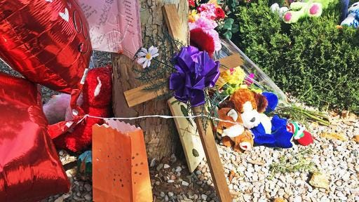 A memorial for a 10-year-old girl who police said was sexually assaulted, strangled then dismembered is seen at an Albuquerque, N.M., apartment building Thursday. On the day the girl was going to celebrate her 10th birthday, she was found dead Wednesday in her family's apartment by Albuquerque police, her dismembered remains lying under a burning blanket. The girl's mother, 35-year-old Michelle Martens, her 31-year-old boyfriend, Fabian Gonzales, and his 31-year-old cousin, Jessica Kelley, are facing charges.