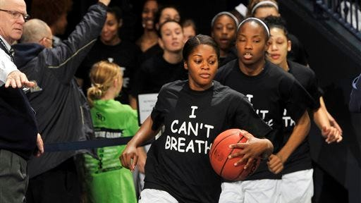 "Notre Dame's women's basketball players wore ""I can't breathe"" T-shirts Saturday."