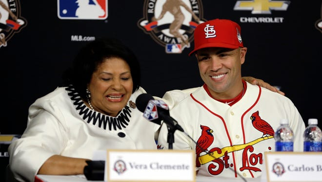 Vera Clemente, widow of Latino Baseball legend Roberto Clemente, speaks after St. Louis Cardinals' Carlos Beltran was honored as the Roberto Clemente Award winner before Game 3 of the World Series.