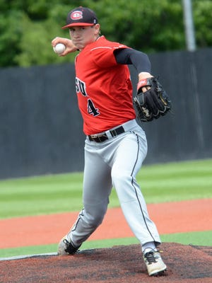 St. Cloud State right-hander Dominic Austing picked up the pitching win May 20 at the NCAA Division II North Central Regional in Emporia, Kansas. Austing will pitch for the St. Cloud Rox this summer