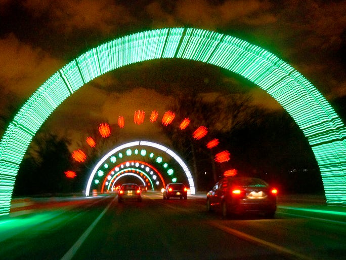 Driving through the tunnels of light.