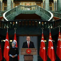 Turkish President Recep Tayyip Erdogan speaks during a meeting at the presidential palace in Ankara, Turkey, Tuesday, Nov. 24, 2015.
