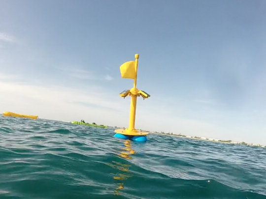 A yellow-flagged buoy a half-mile off Nance Park in Indialantic has some scratching their heads.