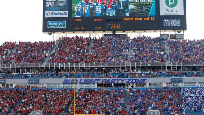 Nov 2, 2013; Jacksonville, FL, USA; An overview of the fans split in half of the Georgia Bulldogs and Florida Gators during the second quarter at EverBank Field. Mandatory Credit: Kim Klement-USA TODAY Sports