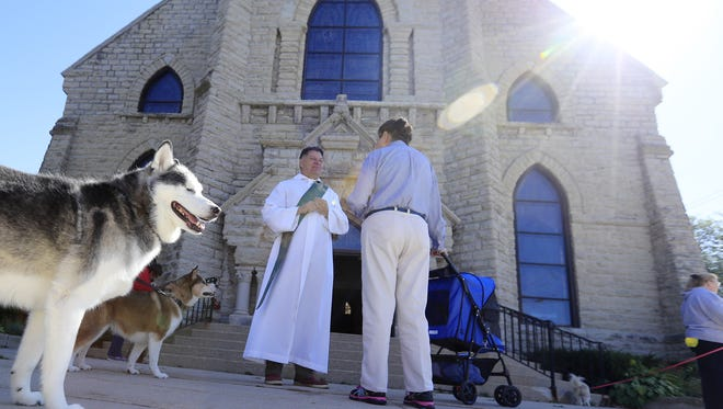 A dog looks around at a pet blessing ceremony on Saturday, September 30, 2017 at St. Mary of the Angels Catholic Church in Green Bay, Wis. Adam Wesley/USA TODAY NETWORK-Wisconsin