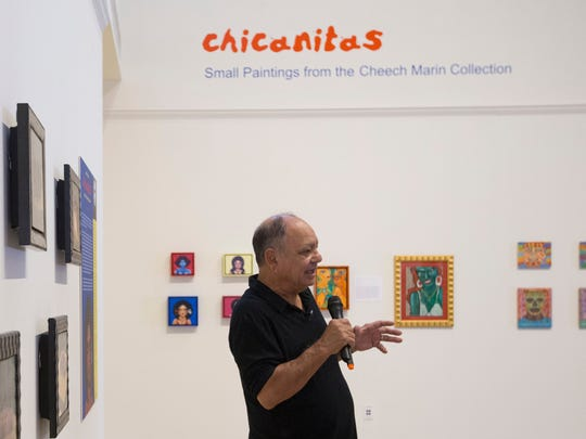 Cheech Marin, art collector, gives a gallery talk at the Art Museum of South Texas on Tuesday, September 22, 2015. His collection, Chicanitas: Small Paintings from the Cheech Marin Collection is currently on display at the museum.