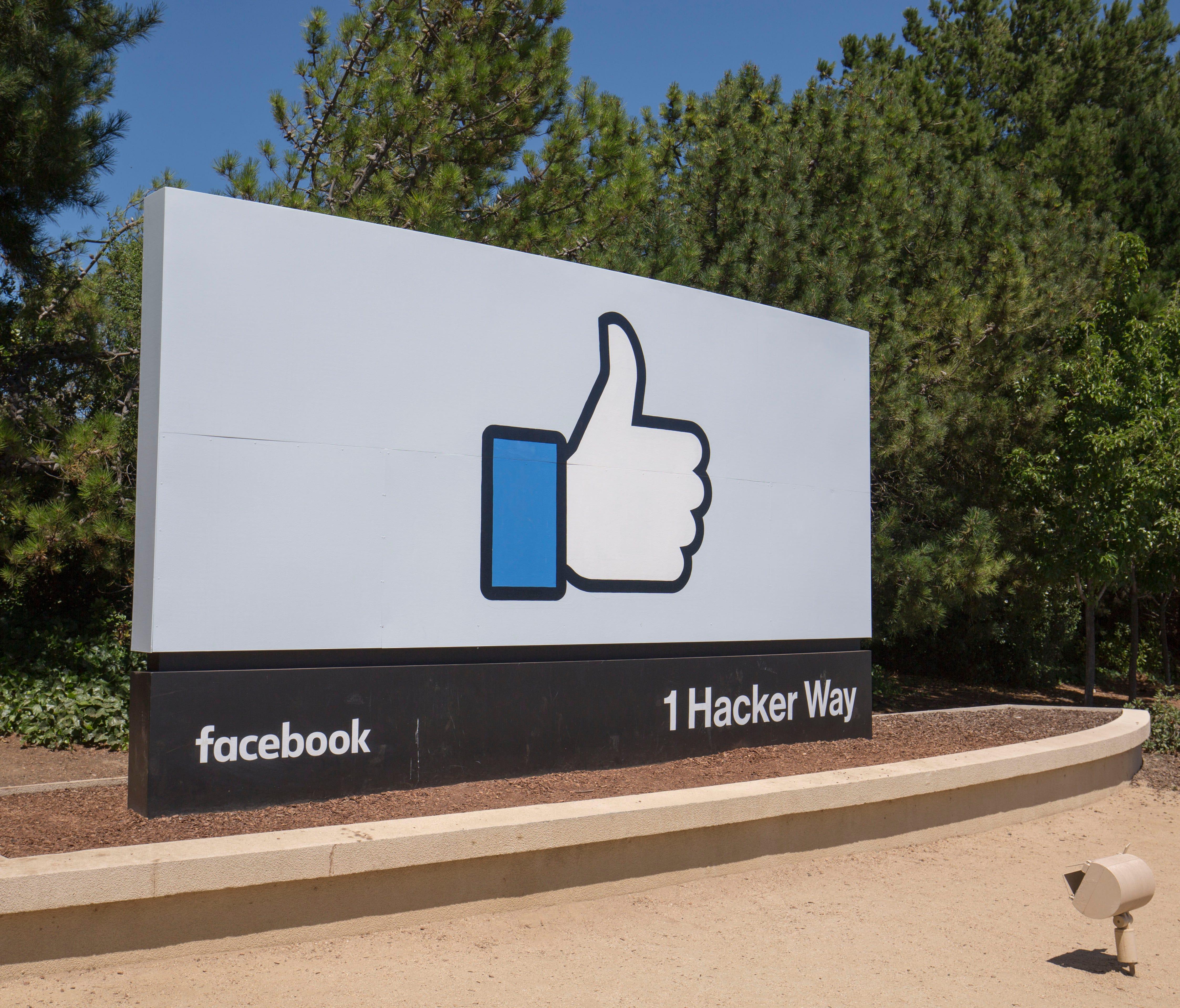 Facebook headquarters logo in Menlo Park, Calif. on June 16, 2017.