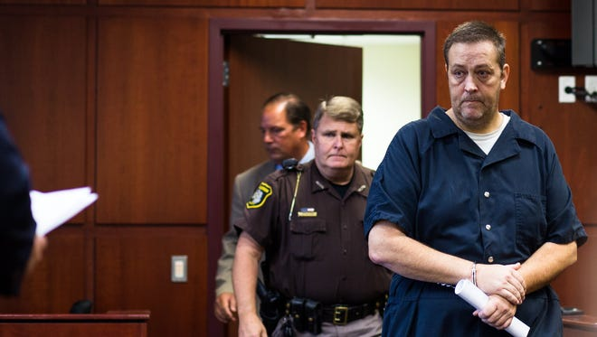 Kevin Bluhm, 47, of Muskegon Township, cousin to Jeffrey Willis appears for his arraignment, in front of Circuit Court Judge William C. Marietti on a felony charge of lying to a police officer in the course of a violent-crime investigation on Tuesday, Sept. 20, 2016 in Muskegon, Mich.