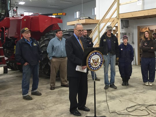 Sen. Charles Schumer, D-New York, talks about the need for tax reform while at the Seneca Valley Dairy Farm in Burdett Wednesday.