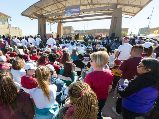 Fans gather to support the NMSU football team at Plaza de Las Cruces in January 2018.