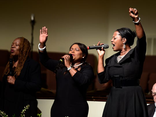 The McCrary Sisters perform at an interfaith prayer