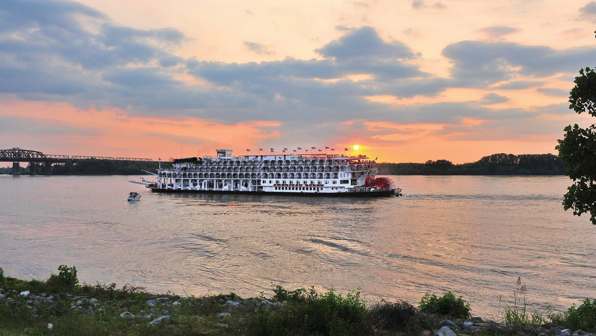 American Queen Steamboat at Sunset