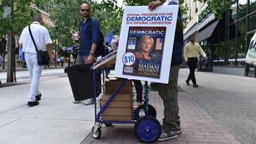 Vendor selling convention programs in Philadelphia on July 25, 2016.