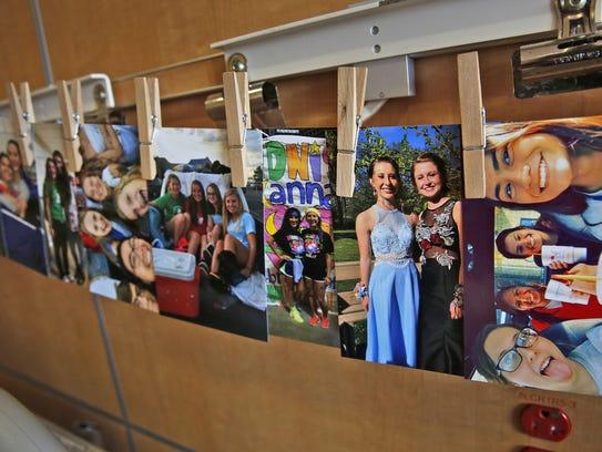 Photos adorn Kathleen Soller's hospital room.