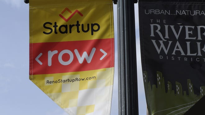A Startup Row banner at First and Arlington streets in downtown Reno.