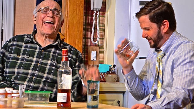 """Gavin MacLeod (left) seen with John Hawkinson in the Coachella Valley Repertory  production of """"Happy Hour,"""" has been nominated for a Desert Theatre League Award for best professional actor in a drama. The CVRep is now raising funds to move into a new theater in Cathedral City."""