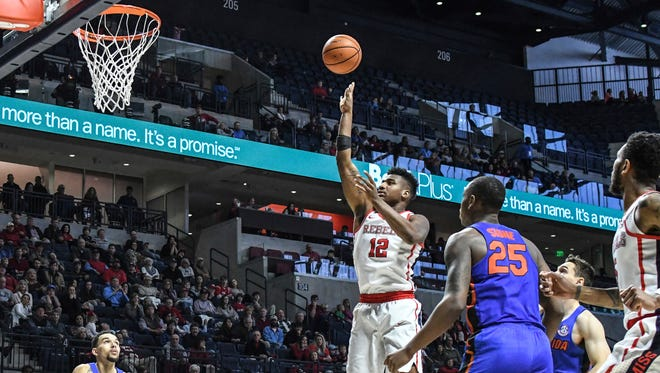 Bruce Stevens (12) led Ole Miss with 22 points in its 78-72 win over Florida Saturday.