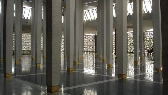 The prayer room of the Mosque of Kuala Lumpur, Malaysia.